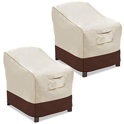 Vailge Patio Chair Covers, Lounge Deep Seat Cover, Heavy Duty and Waterproof Outdoor Lawn Patio Furniture Covers (2 Pack - Medium, Beige & Brown)