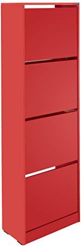 Adore Furniture Armario de almacenamiento de zapatos de color rojo, con cuatro niveles, capacidad para 24 pares, ideal para pasillo, acabado mate