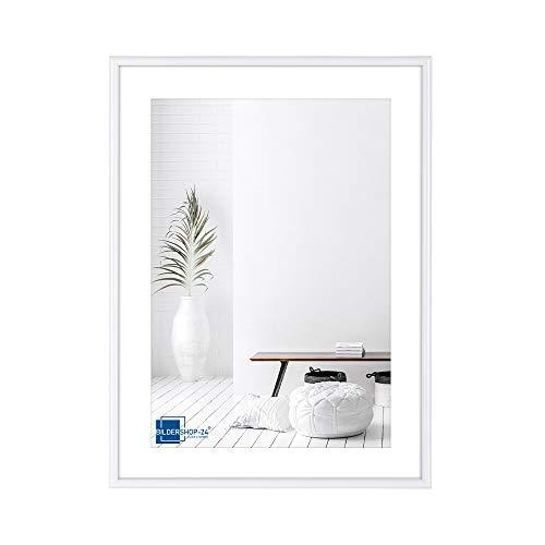 Bildershop-24 Kunststoffrahmen modern Bilderrahmen, (10,5 X 15 cm) DIN A6 weiß, inkl. Tischaufsteller