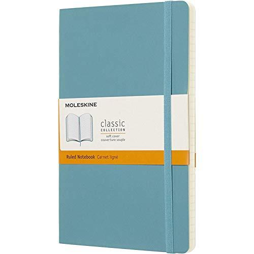 Moleskine Classic Notebook, Taccuino a Righe, Copertina Morbida e Chiusura ad Elastico, Formato Large 13 x 21 cm, Colore Azzurro Blu Reef, 192 Pagine