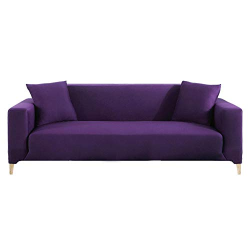 HXTSWGS Spandex Jacquard Sofahusse,Elastic Sofa Cover for Living Room, Sectional Couch Cover, Armchair Slipcover L Shaped Corner, Sofa Cover-Purple_2 Seater 145-185cm
