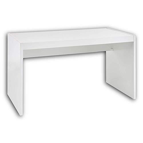 ALASKA Jugendzimmer Schreibtisch in weiß - praktischer Computertisch mit großer Tischplatte - 135 x 74 x 70 cm (B/H/T)