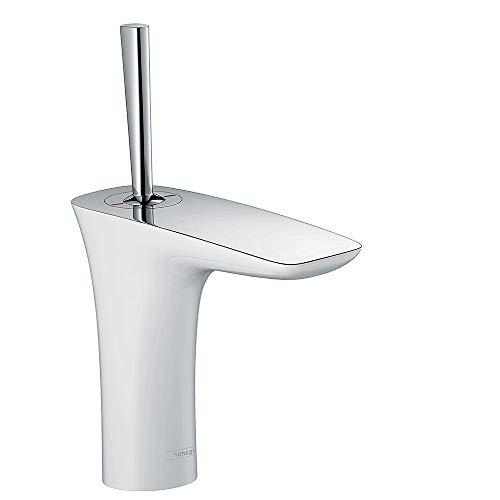 hansgrohe Wasserhahn PuraVida (Armatur mit Auslauf Höhe 110mm und Push-Open Ablaufgarnitur) Weiß/Chrom