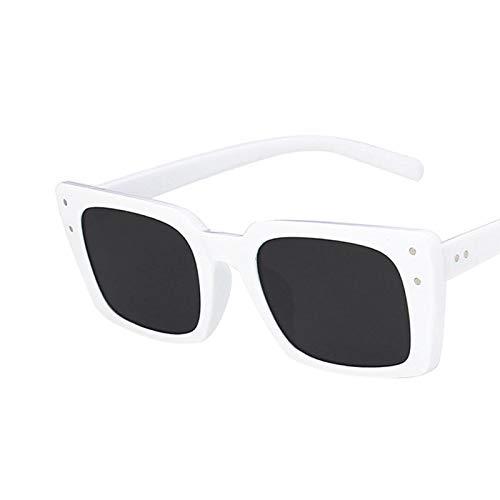 NJJX Gafas De Sol Rectangulares De Moda Para Mujer, Tonos De Moda Para Mujer, Gafas De Sol Cuadradas, Estilo Femenino, C8, Blanco, Negro