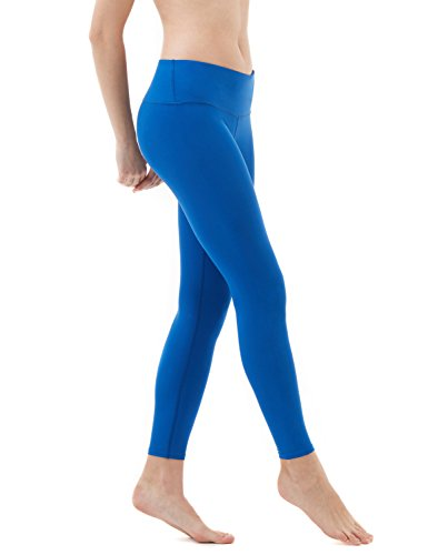 TSLA Yoga Tights Pants Leggings Mid-Waist/High-Waist Tummy Control w Inner-Pocket Series, Ankle Thick Contour(fyp52) - Black, Medium