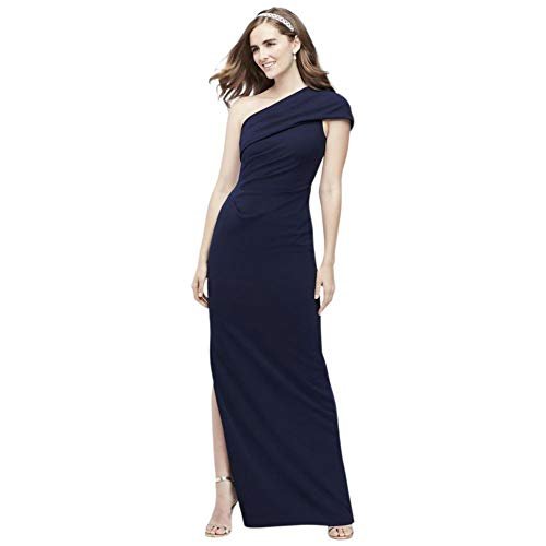 David's Bridal Ruched One-Shoulder Stretch Crepe Bridesmaid Dress Style AP2E205030, Navy, 22