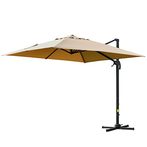 Outsunny Ombrellone da Giardino a Braccio 300x300cm con Manovella, Inclinazione Regolabile e Girevole a 360°, Khaki