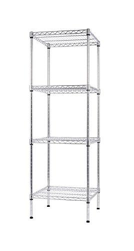 Finnhomy 4 Shelves Adjustable Steel Wire Shelving Rack for Smart Storage in Small Space or Room Corner, Metal Heavy Duty Storage Unit, Bathroom Storage Tower