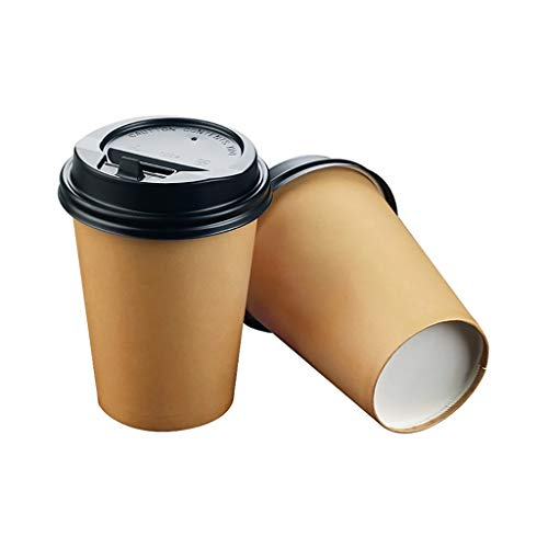 XZ15 Koffiebeker wegwerpbaar met deksel en roerstaaf - drie lagen isolatie, 12 ounces recyclebaar, warme en koude dranken koffie/thee/chocolade, 100 per verpakking
