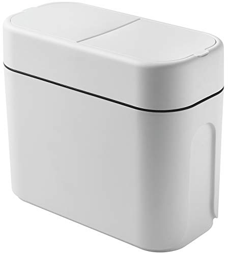 10 Liter Slim Plastic Trash Can with Lid24 Gallon Double Barrel Waste BasketRectangular DogProof Garbage Container Bin for BathroomBedroomKitchen and OfficeWhite by Cq acrylic