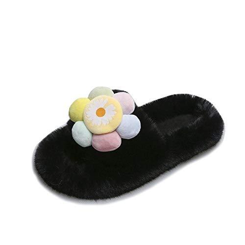 Ling Fengfeiyang Zapatillas antideslizantes para el hogar, cómodas y ligeras, zapatillas Inicio zapatillas peludas, zapatillas de felpa de dibujos animados-negro_36