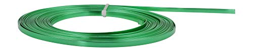 Mandala Crafts Flat Aluminum Wire for Bezel, Sculpting, Armature, Jewelry Making, Gem Metal Wrap, Gardening; Anodized Colored and Soft (Green, 3mm Wide 33 Feet Long 18 Gauge)