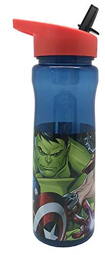 Marvel Avengers Water Bottle with Straw – Reusable Kids 600ml PP in Blue & Red – Official Merchandise by Polar Gear – BPA Free & Recyclable Plastic – for School Nursery Sports Picnic, Multi Coloured