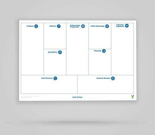 Vi-Tools - Vi-Board: Lean Canvas - Whiteboard Poster - DIN A0 - beidseitig beschreib- & abwischbar, einroll- und wiederverwendbar; inklusive umfassenden Starter Kit