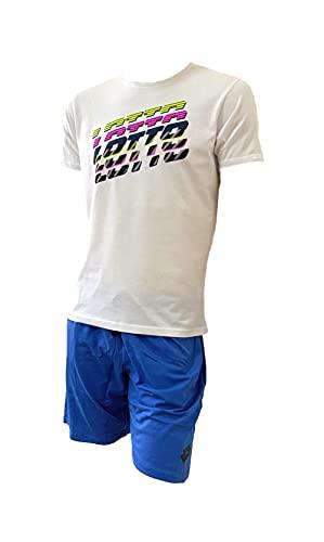 Lotto Completo Uomo Sportivo, T-Shirt + Pantaloncino, Completo Uomo Estivo in Cotone, Corto Estivo (026 Bianco + 556 Bluette, L, l)