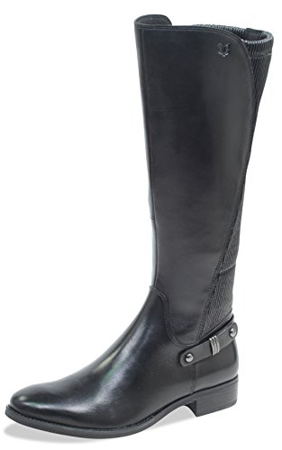 Caprice Damen Stiefel 25521-21,Frauen Boots,Lederstiefel,Reißverschluss, Decksohle,2.5cm,BLACK NAPPA,UK 6