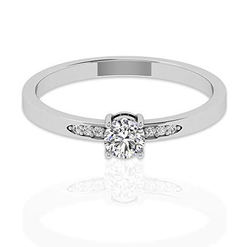 Anillo de compromiso con diamante certificado IGI de 0,27 quilates, con diamantes de pavimentación lateral IJ-SI, aniversario de boda, boda, boda, boda, promesa, 14K Oro blanco, Size:EU 65