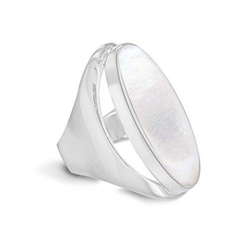 Bijoux pour tous - 8.47.3490 - Anillo de mujer de plata de ley con nácar (talla: 12)