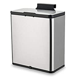 SUBEKYU Small Kitchen Trash Can with Lid, 1.5 Gallon Mini Metal Garbage Bin Under Sink or Hanging on The Cabinet Door for Kitchen or Bathroom, Brushed Stainless Steel