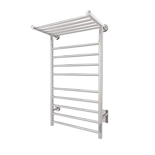 Odass | Towel Warmer with Timer | Built-in Timer with Led Indicators | 3 Timer Modes: ON/Off, 2 H, 4 H | Wall Mounted | 9 Bars | Heated Top Shelf | (High Polish Chrome Stainless Steel)