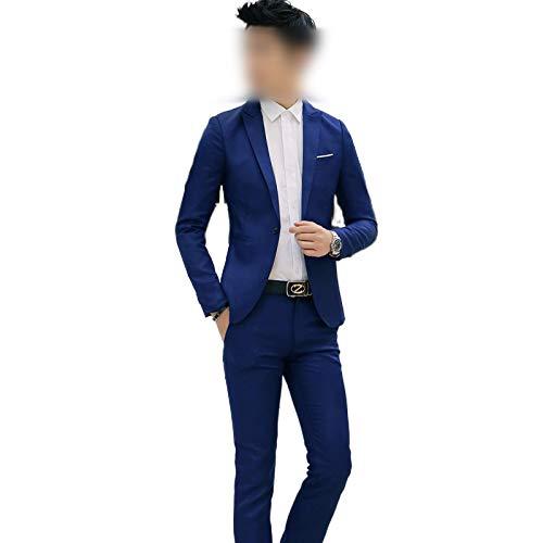 who-care Hombres Trajes de Novio Esmoquin Delgado Estilo Británico Estudiante Traje de los Hombres de Negocios de Ocio 2 Piezas Traje de novio Mejor Hombre (Chaqueta+Pantalón) 2021