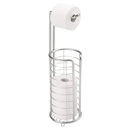 mDesign Toilettenpapierhalter stehend - moderner Papierrollenhalter fürs Badezimmer - rostfreier Klopapierhalter aus gebürstetem Edelstahl - silber