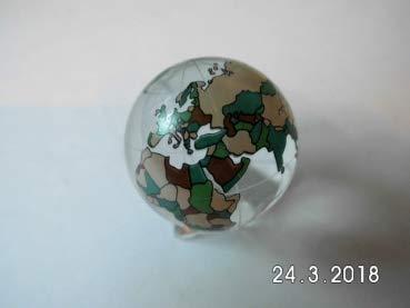 Gaide und Petersen Kristallglaskugel Erde farbig ca. 60mm Weltkugel aus Glas, Globus,Glaskugel (139152)