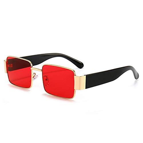LOYWT Gafas de Sol Divertidas Gafas de Sol Retro Finas para Mujer Estilo Coreano Gafas Rojas Red de Moda-Marco Dorado Película roja