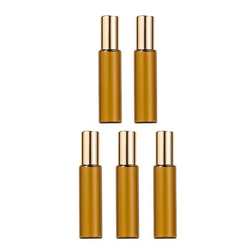 CHICAI Perfume de la Botella vacía, Bolas y Ruedas for los aceites Esenciales, Roll en Botellas, Conjunto de 5 (Size : 10ml x 5)