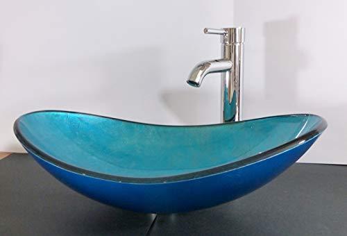 Nero Aufsatz Glas Waschbecken Blau oval
