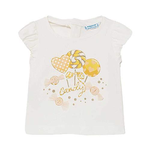 Mayoral Camiseta de manga corta de manga corta, manga rizada, para niña, color crema 1081 crema 12-18 Meses