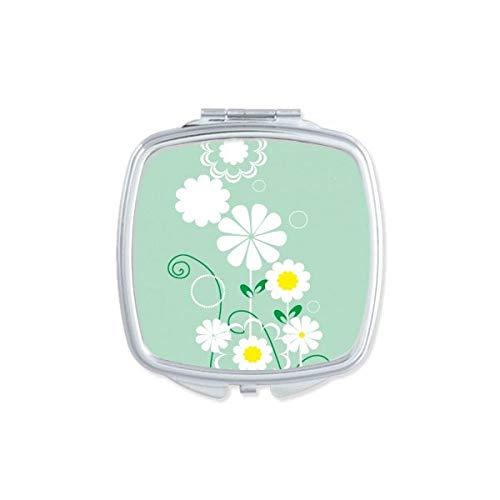 DIYthinker Plantes Fleuries Feuilles Vertes Pétale Miroir carré Maquillage Compact Portable Mignon Miroirs de Poche à la Main Cadeau Multicolore