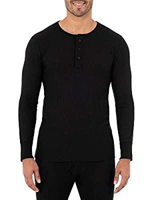 Fruit of the Loom Men's Classic Midweight Waffle Thermal Henley Top, Black, Small from Fruit of the Loom