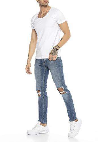 Redbridge Jeans da Uomo Elasticizzati e Strappati Stile Destroyed Denim Blu W30L32