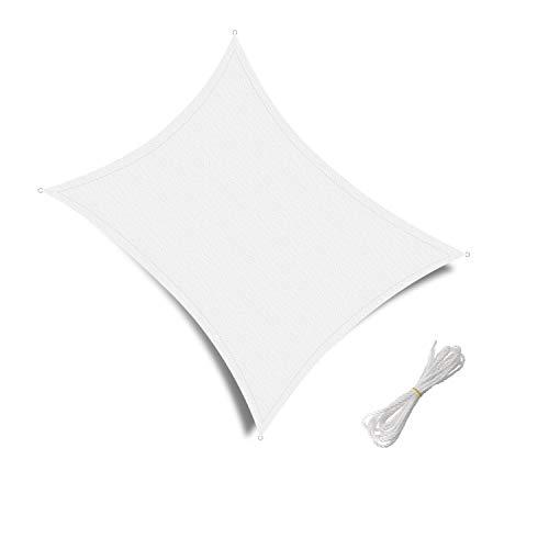 Patio Shack Toldo Vela de Sombra Rectangular 2x3m, protección Rayos UV y Poliéstere Impermeable para Exterior, Jardin, terrazas, Blanco