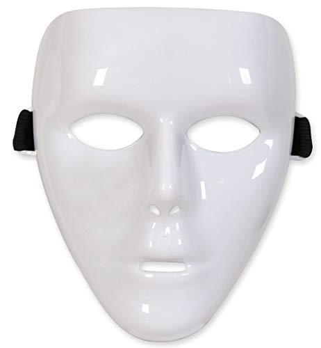 KarnevalsTeufel Maske Uni Phantom Einheitsgröße DIY für Theater Halloween Tanzauftritte u.v.m. Anonymus Theatermaske Maskerade für Erwachsene (Weiß)