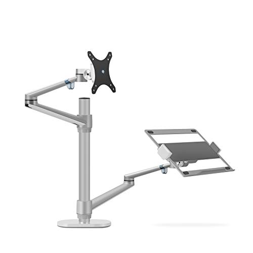 Thingy Club Dual Arm Monitor & Laptop Mount, Desk Mount Stand for up to 30 inch Computer Screen and 12-17 inch Laptop, Height Adjustable, Swivel at Any Angle, Each Arm Supports 8KG (Silver)