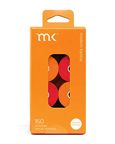 Modern Kanine 160-Count Poop Bags, Scented Dog Waste Bags, Orange and Coral