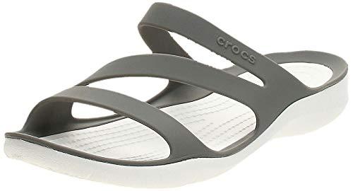 Crocs Women's Swiftwater Sandals, Smoke/White, 5