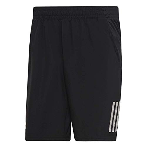 adidas Men's Club 3-Stripes 9-Inch Tennis Shorts, Black/White, Small