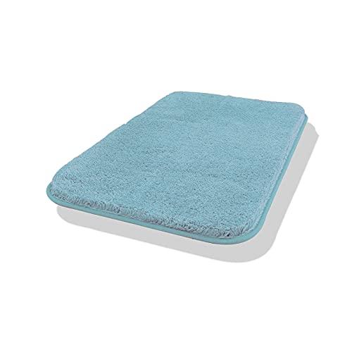 Carvapet Antiscivolo Tappetino Bagno Assorbente Acqua Tappeto Foccia per Il Bagno Morbido Peluche Microfibra Tappeto da Bagno(Blu Menta,50x80cm)