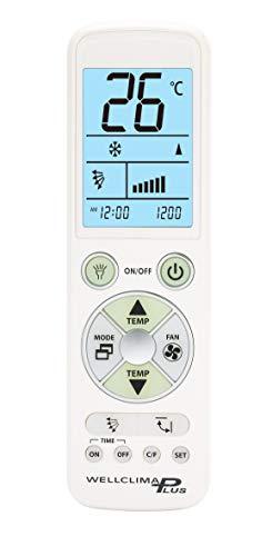 Wellclima PLUS telecomando universale per condizionatore climatizzatore alta qualità, display e tastiera retroilluminati, luce led illuminazione notturna