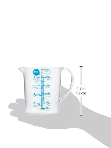 DELISH KITCHEN パール金属 計量カップ ネイビー 13.5×11.5×8.5cm 大きい目盛 耐熱 500ml CC-1320