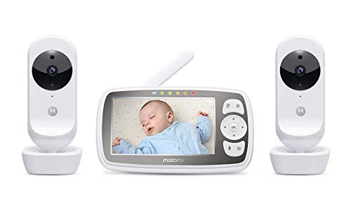 Motorola Connect20-2 Video Baby Monitor with Two Cameras – 4.3' Parent Unit and Wi-Fi Viewing for Baby, Elderly, Pet - 2-Way Audio, Night Vision, Temperature Sensor, Digital Zoom