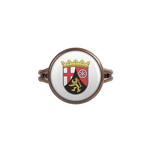 Mylery Ring mit Motiv Bundes-Land Flagge Rheinland-Pfalz Bronze 14mm