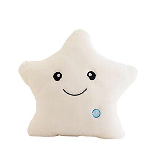 Mystery&Melody LED Star Pillow Cushions Glowing LED Night Light Star Shape Plush Pillow Stuffed Soft Toys (White)