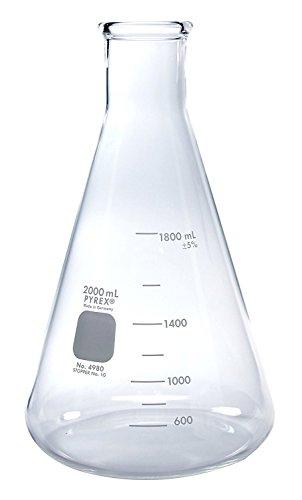 Flask, ERLENMEYER NARROW MOUTH ~ PYREX GLASS 2L