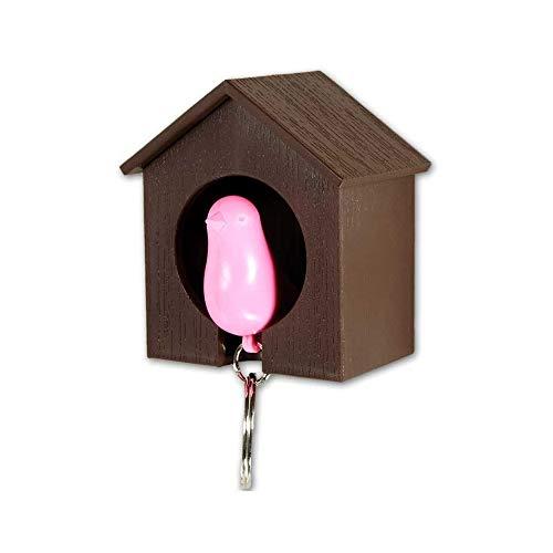 QUALY QL10091BR-P - Portachiavi da Parete con Fischietto a Forma di Uccellino, Colore: Marrone/Rosa