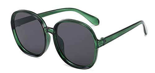 ShZyywrl Gafas De Sol Gafas De Sol Clásicas Vintage para Mujer, Montura Redonda De Gran Tamaño, Gafas Femeninas, Tonos Grandes, Verde, Gris