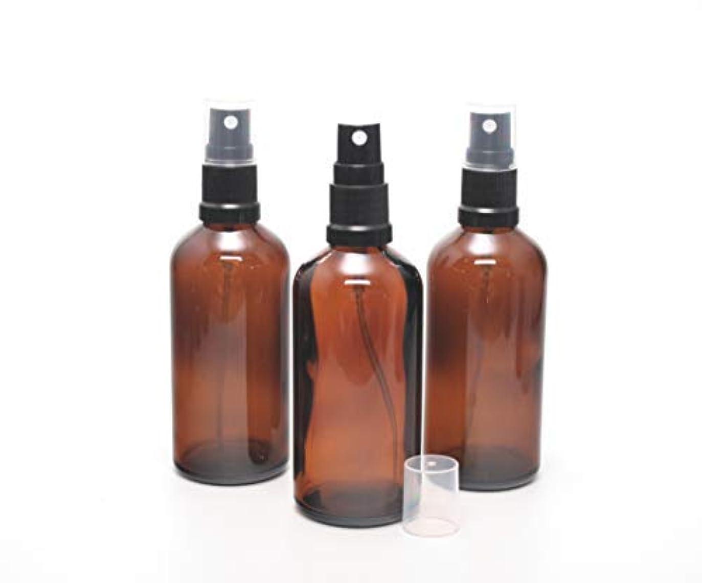 約数本能遮光瓶 スプレーボトル (グラス/アトマイザー) 100ml / ブラックヘッド 3本セット【Cクラス 新品アウトレット商品 】 (アンバー)